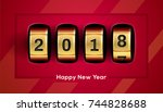 happy new year background with... | Shutterstock .eps vector #744828688