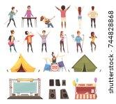 open air festival retro cartoon ...   Shutterstock .eps vector #744828868