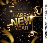 glitter happy new year design ... | Shutterstock .eps vector #744830746
