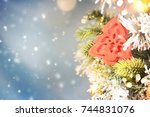 christmas ornament on wooden... | Shutterstock . vector #744831076