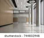 interior of a lobby hotel... | Shutterstock . vector #744832948