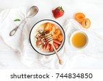 healthy breakfast set. rice... | Shutterstock . vector #744834850