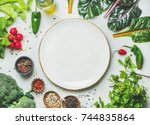 fresh raw greens  unprocessed... | Shutterstock . vector #744835864