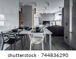 modern home interior with white ... | Shutterstock . vector #744836290