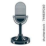 retro studio microphone vector... | Shutterstock .eps vector #744839260
