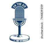 retro studio microphone vector... | Shutterstock .eps vector #744839359