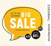 promotional speech bubble... | Shutterstock .eps vector #744841813