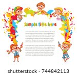 children draw abstract spots.... | Shutterstock .eps vector #744842113