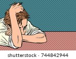 man lies on the table  thinking ... | Shutterstock .eps vector #744842944