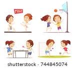 kids sport 2x2 flat design... | Shutterstock .eps vector #744845074