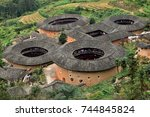 the fujian tulou  the chinese... | Shutterstock . vector #744845824