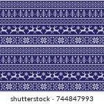 winter festive christmas... | Shutterstock .eps vector #744847993