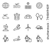 thin line icon set   globe  bio ... | Shutterstock .eps vector #744849409