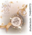 grand opening gold invitation... | Shutterstock .eps vector #744849973
