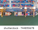 container container ship in... | Shutterstock . vector #744850678