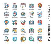 education vector icons set   | Shutterstock .eps vector #744856174