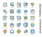 school and education flat and... | Shutterstock .eps vector #744856180