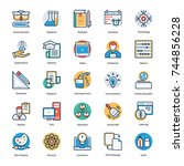 education flat and line icons   | Shutterstock .eps vector #744856228