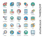 set of education flat and line ... | Shutterstock .eps vector #744856249