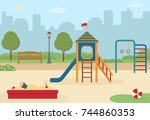 children's playground in the... | Shutterstock .eps vector #744860353
