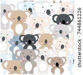 vintage seamless cute koala... | Shutterstock .eps vector #744861226