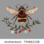 bee and flower embroidery... | Shutterstock .eps vector #744862138