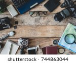 top view travel concept and...   Shutterstock . vector #744863044