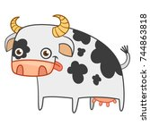 Black And White Cow Vector Flat