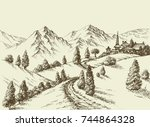 mountains view  small village... | Shutterstock .eps vector #744864328