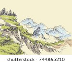 wilderness drawing. mountains... | Shutterstock .eps vector #744865210