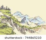 wilderness drawing. mountains... | Shutterstock .eps vector #744865210