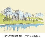 pine forest in the mountains... | Shutterstock .eps vector #744865318