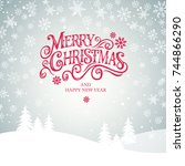 merry christmas and happy new... | Shutterstock .eps vector #744866290