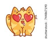 cute ginger cat  in love  kiss  ... | Shutterstock .eps vector #744867190