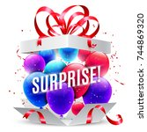 surprise gift box | Shutterstock . vector #744869320