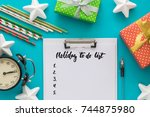 christmas and new year holiday... | Shutterstock . vector #744875980