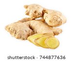 fresh ginger on white... | Shutterstock . vector #744877636