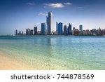 abu dhabi skyline  united arab...   Shutterstock . vector #744878569