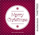 merry christmas vintage card  ... | Shutterstock .eps vector #744879820
