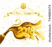 happy new year 2018 merry... | Shutterstock .eps vector #744880474