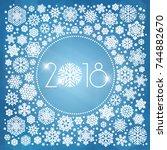 new year 2018 vector... | Shutterstock .eps vector #744882670
