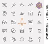 outline web icon set   summer... | Shutterstock .eps vector #744883408