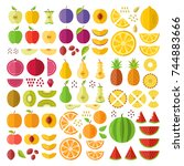 fruits. flat icons set. whole...   Shutterstock .eps vector #744883666