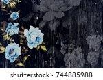 vintage rose decorations on... | Shutterstock . vector #744885988