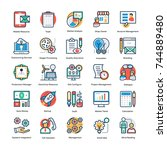 project management icons flat... | Shutterstock .eps vector #744889480