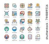 set of project management flat ... | Shutterstock .eps vector #744889516