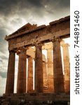 the parthenon temple closeup in ... | Shutterstock . vector #744891460