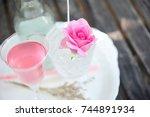 tea made from tea rose petals... | Shutterstock . vector #744891934