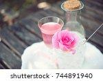 tea made from tea rose petals... | Shutterstock . vector #744891940