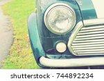retro headlight of vintage car. | Shutterstock . vector #744892234